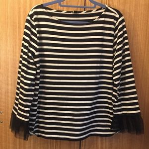 J Crew Boat Neck Shirt with Taffeta Sleeves!